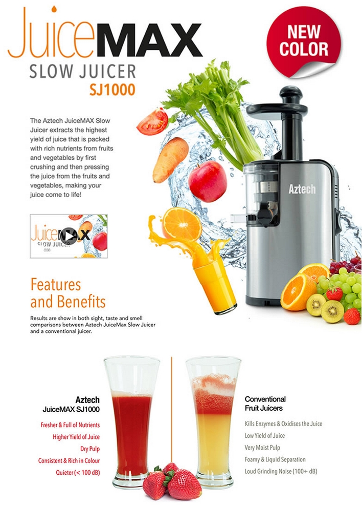 AZTECH SJ1000 JuiceMAX Slow Blend Juicer Maker Maximum Flavour and Nutrients Preserved ...